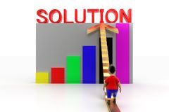 Young Boy Walking Up Stairs To Solution Graph Stock Photography