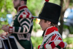 Young boy in a War of 1812 re-enactment Stock Image