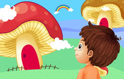 A young boy watching the giant mushroom houses Royalty Free Stock Photos