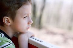 Young boy watching out from window Stock Image