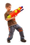 Young boy with water gun. Over white background royalty free stock photos