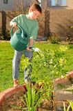 Young Boy Watering Garden Royalty Free Stock Photos