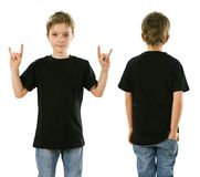 Young boy wearing blank black shirt. Young boy with blank black t-shirt, front and back. Ready for your design or artwork Royalty Free Stock Photo