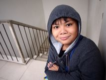 Young boy wearing a hoodie jacket Royalty Free Stock Photo
