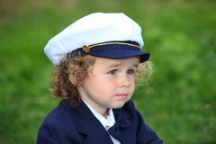 Young boy Wearing Navy Sailor Hat Stock Images