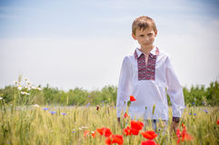 Young boy wearing traditional Ukraine clothes Stock Photos