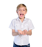 Young boy on white Stock Photo