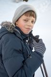 Young boy winter walking in mountains royalty free stock photography