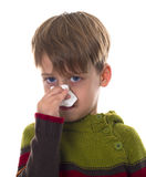 Young boy wipes a nose with napkin Stock Photo