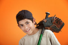 Young Boy With Baseball Glove And Bat Stock Photo