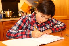 Young boy writes on his notebook Stock Photography