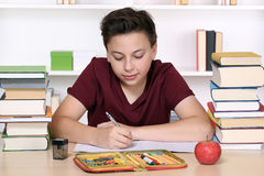 Young boy writing his homework at school Stock Photo