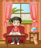 A young boy writing. Illustration of a young boy writing Royalty Free Stock Image