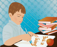 Young boy writing in a school notebook. Vector illustration Stock Images