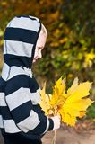 Young boy with yellow leaves. Autumn, young boy with yellow maple leaves Royalty Free Stock Photos