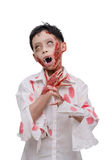 Young boy in zombie make up and costume Royalty Free Stock Image