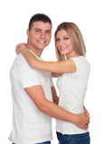 Young boyfriends hugging Royalty Free Stock Images