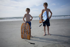 Young Boys at the Beach Stock Image