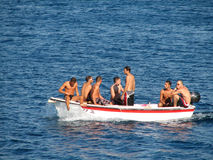 Young boys in the boat Royalty Free Stock Photography