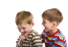 Young boys cheerfully play Royalty Free Stock Photos