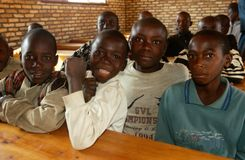 Young boys in a classroom in Rwanda. Royalty Free Stock Images