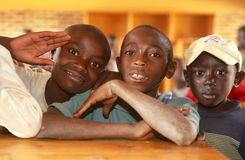 Young boys in a classroom in Rwanda. Royalty Free Stock Photos