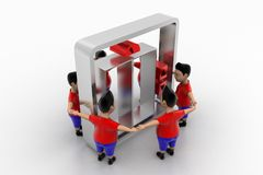 Young Boys Form Circled Group  In Elevator Symbol Royalty Free Stock Images