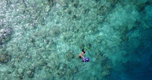 Young boys girls snorkeling over coral reef with drone aerial flying view in crystal clear aqua blue. Many people young boys girls snorkeling over coral reef royalty free stock image