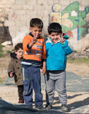 Young Boys in Hebron Israel Giving Peace Signs Royalty Free Stock Photography