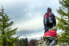Young boys hiking Stock Image
