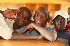 Young Boys In A Classroom In Rwanda. Royalty Free Stock Photos