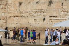 Young Boys and Other Jewish Men at the Wailing Wall Royalty Free Stock Image