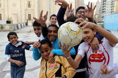 Young Boys playing Football in Egypt Royalty Free Stock Images