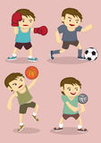 Young Boys Playing Sports Vector Cartoon Illustration Stock Image