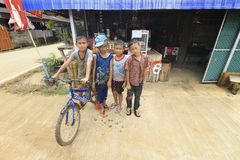 Young boys posing for the camera. Mae Hong Son, THAILAND - August 17, 2015: Unidentified group of local young boys from a village, they just came back form Royalty Free Stock Photos