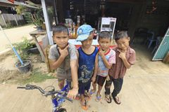 Young boys posing for the camera. Mae Hong Son, THAILAND - August 17, 2015: Unidentified group of local young boys from a village, they just came back form Stock Photos