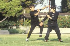 Young boys practicing Karate Stock Photo