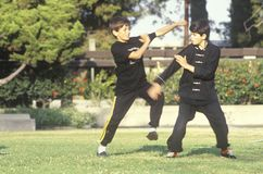 Young boys practicing Karate, Los Angeles, CA Stock Photo