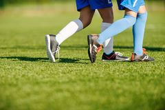 Youth Football Training on Sports Field Stock Photography