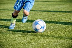 Youth Football Training on Sports Field Stock Images
