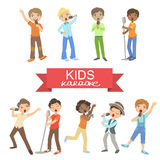 Young Boys Singing In Karaoke Stock Images