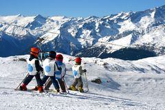 Young boys skiing Stock Photography