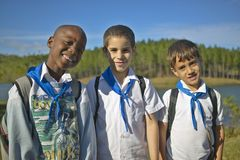 Young boys smiling and wearing school uniforms in Cuba Stock Photography