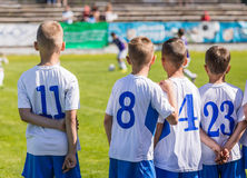 Young Boys Soccer Football Players. Youth Footballers on the Field stock images