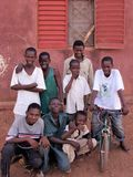 YOUNG BOYS OF THE STREET IN BAMAKO MALI stock photo