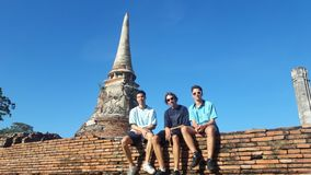 3 Young boys,travel. ancient temple, Ayutthaya stock images