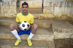 Young Brazilian Football Player Soccer Ball Royalty Free Stock Photo