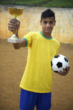 Young Brazilian Football Soccer Player Holding Trophy Stock Photos