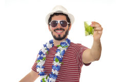 Young brazilian holding typical cocktail made of cachaca: Caipir Royalty Free Stock Images