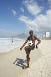 Young Brazilian Man Playing Beach Soccer Football Altinho Stock Images